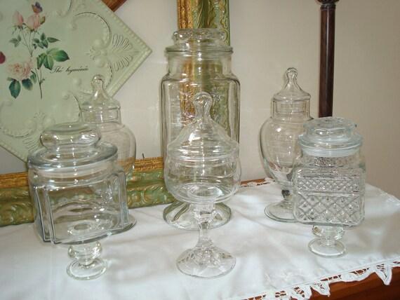 apothecary jar set 6 lidded jar set wedding candy bar instant. Black Bedroom Furniture Sets. Home Design Ideas