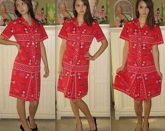 Vintage 50s 60s Dress / Red Midi Dress / Shirtwaist Day Dress / Scandinavian Floral Mod / Button Down Shirt Dress / Kitschy Housewife / M