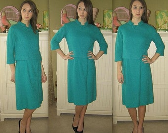 Vintage 60s Dress / Mad Men Dress Suit  / 1960s Jackie O Dress / Jackie Kennedy Style / Teal Green Boucle Two Piece Suit / S