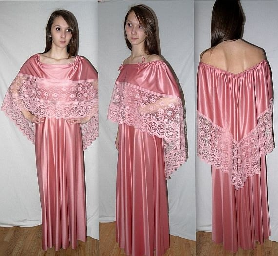 Vintage 70s Angel Sleeve Dress Disco Dress Prom Dress