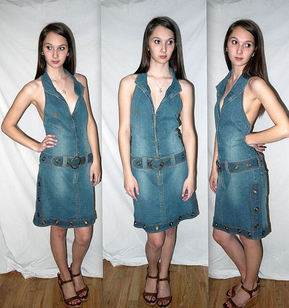 Vintage 80s 90s Halter Dress / JORDACHE Jean Jeans Biker Dress / Zip Front  Deep V  Bare Back / NOS Deadstock  / M / Bust 34