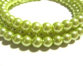 ON SALE 50% OFF Light Greenish Yellow Two Layered Glass Pearl Choker Necklace