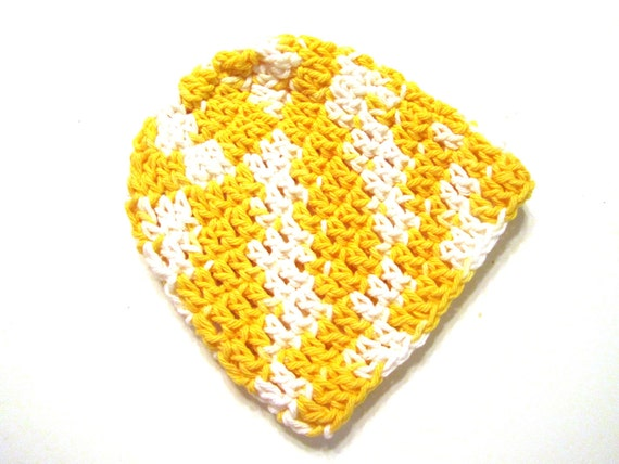 Yellow and White Daffodil Daze 100% Cotton Crocheted 0 to 3 Months Baby Hat - CLEARANCE SALE - Last Hat