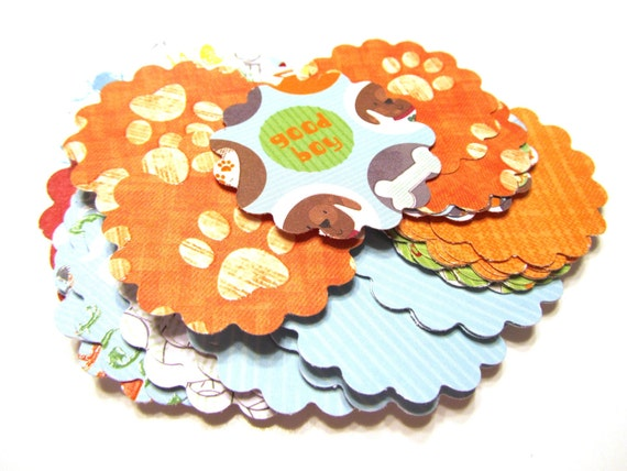 DOLLAR SALE Dog Mix Scalloped Circle Scallops Textured Die Cut Tags 2 inch - Set of 50