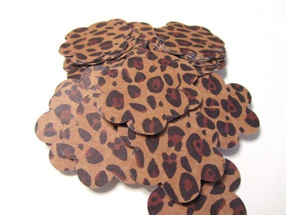 Leopard Cheetah Safari Jungle Flower Circle Die Cut Tags 1.5 inch - Set of 75