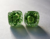 Green fused glass earrings