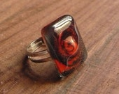 Black and red solid fused glass ring - Adjustable size