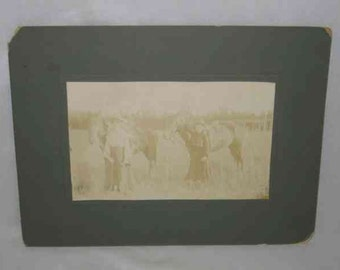 """GREAT Vintage 5"""" X 8"""" Picture Real Photo Farm WOMEN With HORSES"""