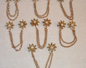 7 Sets 1950s Sweater Guards Pearl and Brass Flower old store stock