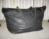 Charlize Kyle Couture fur and leather duffel bag luggage sz large custom made black
