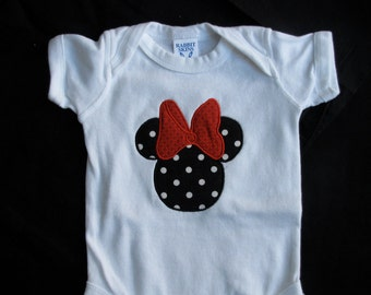 Minnie Mouse Tee -  Personalized - Boutique Style - Shirt or Onesie - Infant Toddler - Birthday -  Perfect for Disney