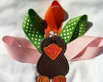 Girl Thanksgiving Shirt or Bodysuit - Turkey - Infant or Toddler - Ribbon Turkey - Personalized - Monogrammed Shirt