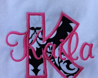 Personalized Girl Shirt - Infant or Toddler  - Monogrammed Shirt