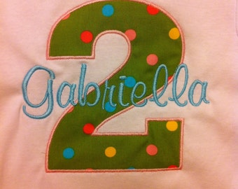 Birthday Shirt - Personalized - Toddler Birthday Shirt - All Numbers Available - Girl Birthday
