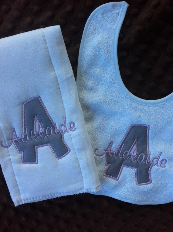 Personalized Baby Girl Infant Gift Set - Initial Bib and Burp Cloth Set - Monogrammed w/Initial and Name