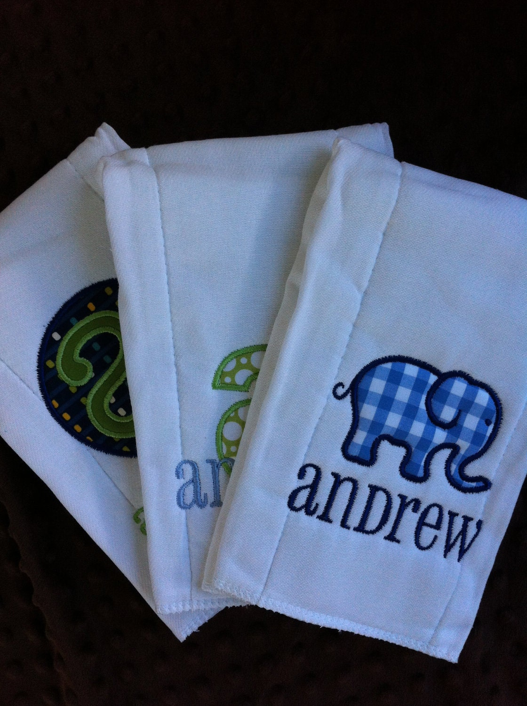 set of 3 personalized burp cloths diaper cloths baby boy