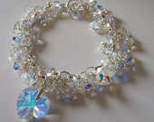 CUSTOM ORDER  Swarovski Crystal bead bunches with a large heart charm