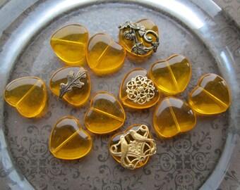 Transparent Czech Amber Glass Heart Beads Or Pendants