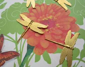 Brass Dragonfly Stampings With Two Top Rings