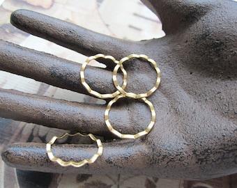 Ruffled Raw Brass Rings 21mm  4Pcs.