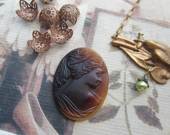 Vintage Brown Matte Glass Lady Cameo 30x40mm  1Pc.