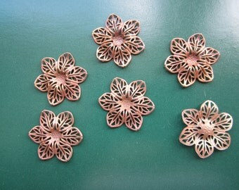 Brass Flower Filigree Stampings With Setting 6pcs.