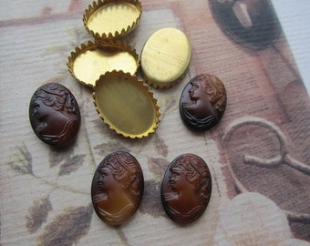 Vintage Brown Matte Glass Lady Cameos 4 WithCrown Settings
