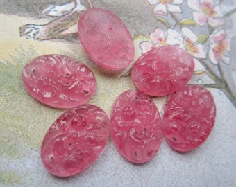 Vintage Rose Glass Floral Cabs Cherry Brand From 1940's 18x13mm 6Pcs.