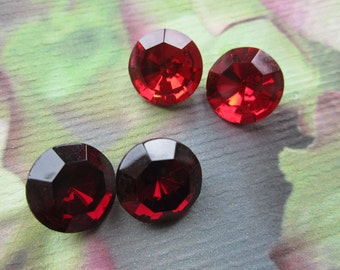 Vintage Czech Gems Faceted Garnet And Siam Ruby 14mm 60ss