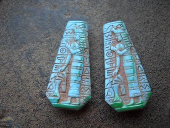 Vintage Egyptian Design Glass Drops Turquoise Color