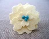 Small Felt Flower Clip in Cream with Turquoise Beads