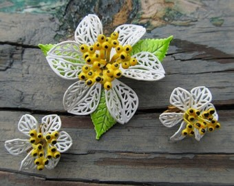 Enamel Flower Brooch & Earring Set with Box