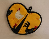 Warm Hearts Potholder - Chickens