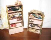 Antique Miniature Millinery Shop Shelves 16 Victorian Hats Doll House