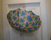 Beautiful Mid Century PK  fabric umbrella with a clear lucite handle