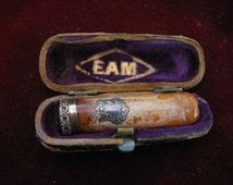 Antique cigarette holder , Sterling and Amber , E.A.M. Victorian , Violin Box . Velvet Presentation Piece
