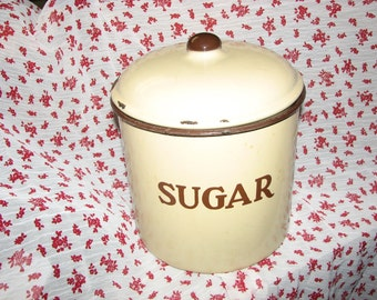 Vintage Enamel Sugar Canister Cream and Brown
