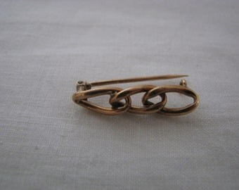 Victorian Gold Filled Three Link Brooch With Old C Clasp