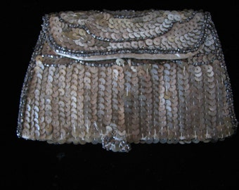 Flapper Purse , Made In Belgium , Sequined Beaded Dance Pouch ,  Coin Purse