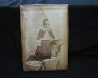 Victorian Child Encased In Beveled Glass Photo