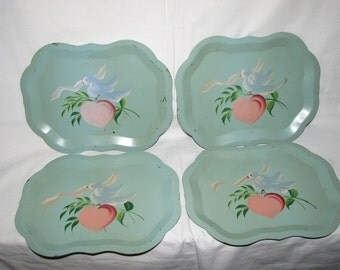 Antique Cottage Chic Hand Painted Blue Bird Metal Trays