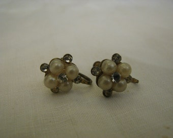 Dainty Vintage Earrings Pearl and Rhinestones