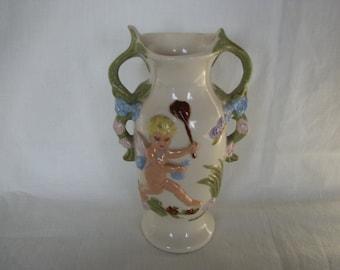 Cherub Ceramic Vase Urn Handles
