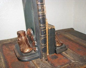 Bronzed and Copper Baby Shoe Bookends Art Deco