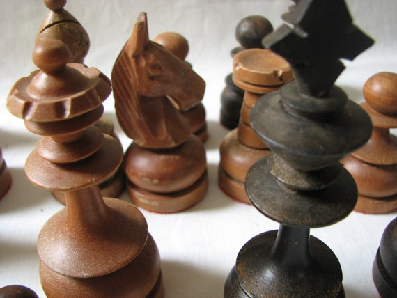 Large Hand Carved Antique Chess Pieces