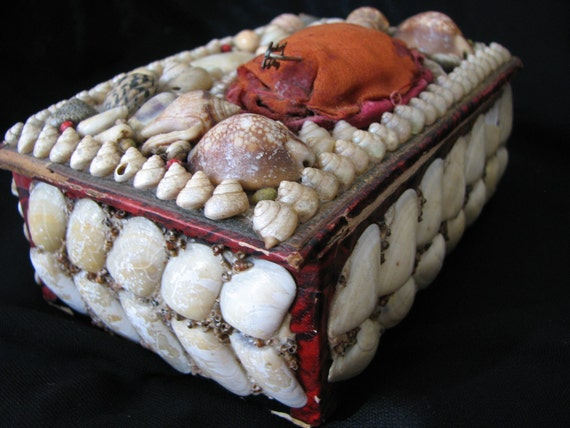 Sailors Valentine , Sewing Box  , Authentic Victorian , Charming Antique , Coastal Shell Work Box Pin Cushion