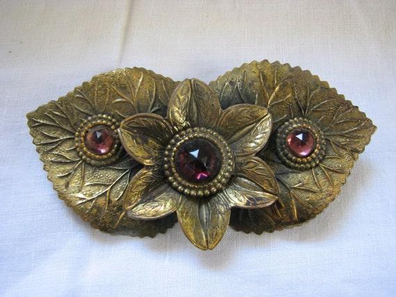 Large Art Nouveau Flower Leaf Repousse Brooch Pink Garnets
