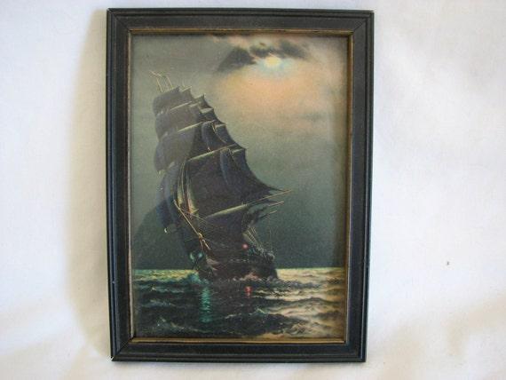 Framed Picture Of Old Ironsides Antique Frame