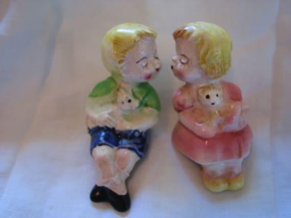 Vintage Kissing Kids Salt And Pepper