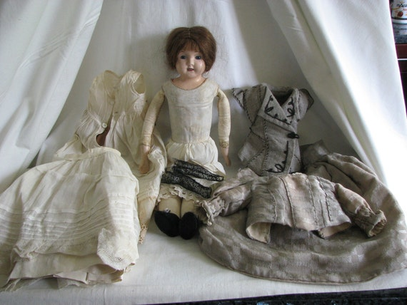 German Tin Head Doll With Elaborate Detailed 1880's Costume